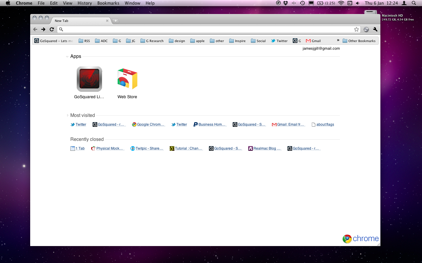 GoSquared on the home screen of Google Chrome